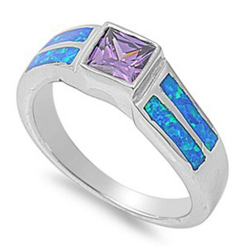 Image of Rings $74.50 Square Amethyst Cubic Zirconia Stone with Blue Opal Set in Band 50-100, amethyst, badge-toprated, blue, cubic-zirconia