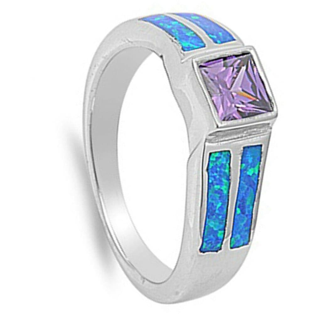 Rings $57.31 Square Amethyst Cubic Zirconia Stone with Blue Opal Set in Band amethyst blue cubic-zirconia cz opal