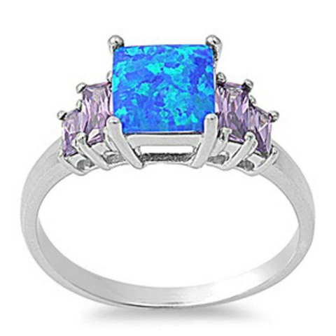 Rings $30.01 Square Blue Lab Opal with Amethyst CZ Accent Stones Set in Sterling Silver Band Size 5-10