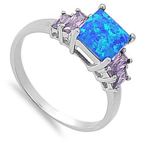 Rings $30.01 Square Blue Lab Opal with Amethyst CZ Accent Stones Set in Sterling Silver Band Size 5-10 25-50 accent amethyst blue