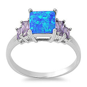 Square Blue Lab Opal with Amethyst CZ Accent Stones Set in Sterling Silver Band Size 5-10