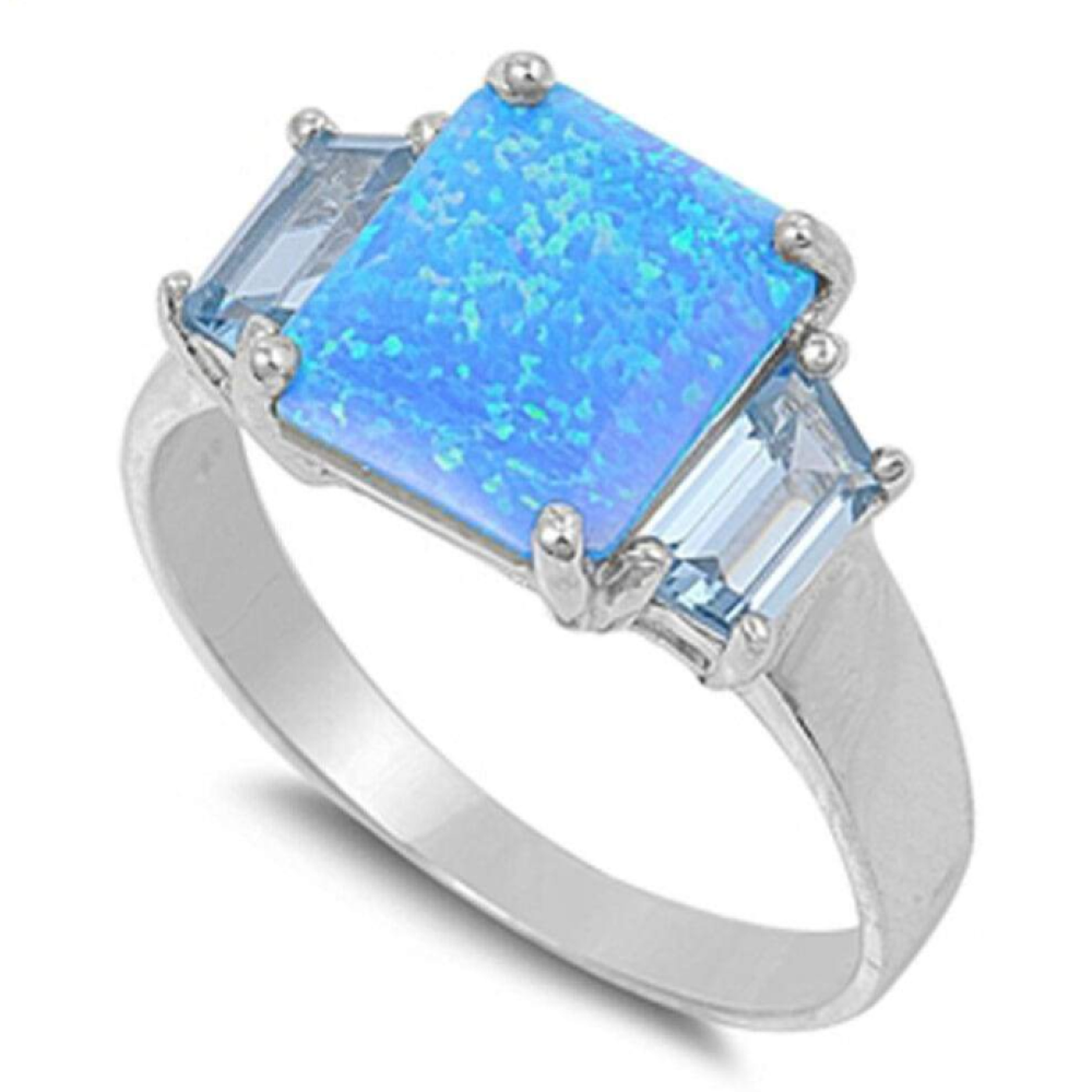 Rings $59.30 Square Blue Lab Opal with Aquamarine CZ Stone Accents Set in Sterling Silver Ring 50-100, aquamarine, badge-toprated, blue,