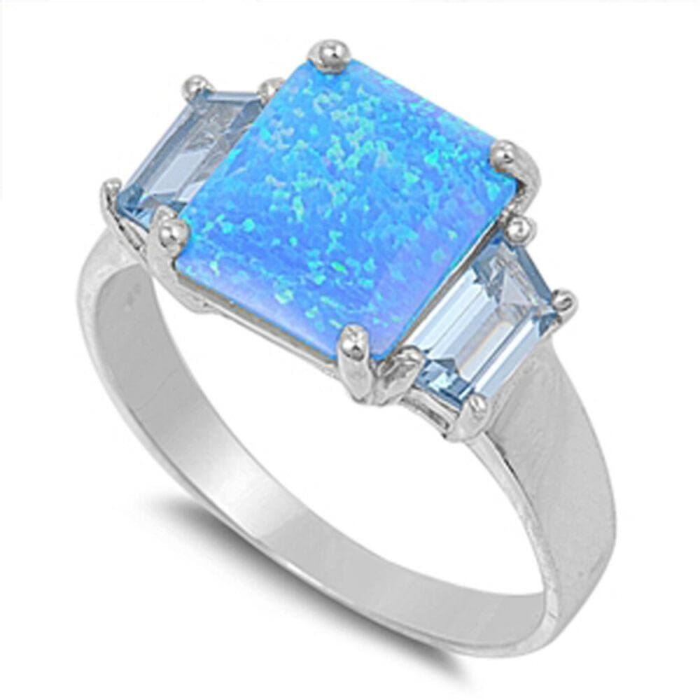 Rings $36.52 Square Blue Lab Opal with Aquamarine CZ Stone Accents Set in Sterling Silver Ring aquamarine blue cubic-zirconia cz opal