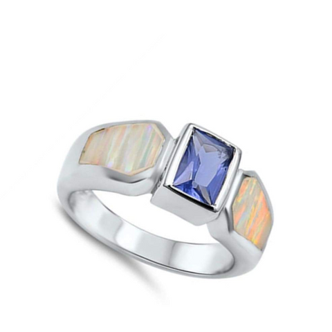 Rings $70.14 Square Blue Simulated Sapphire Stone with White Lab Opal Set in Band 50-100, badge-toprated, opal, rings, sapphire