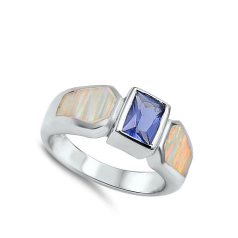 Rings $53.95 Square Blue Simulated Sapphire Stone with White Lab Opal Set in Band opal sapphire square white