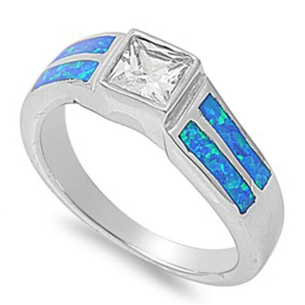 Rings $57.31 Square Clear Cubic Zirconia Stone with Blue Simulated Opal Set in Band 50-100, badge-toprated, blue, clear, cubic-zirconia