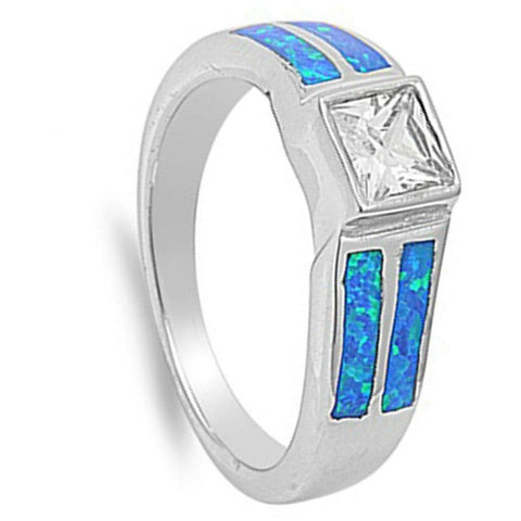 Image of Rings $57.31 Square Clear Cubic Zirconia Stone with Blue Simulated Opal Set in Band blue clear cubic-zirconia cz opal