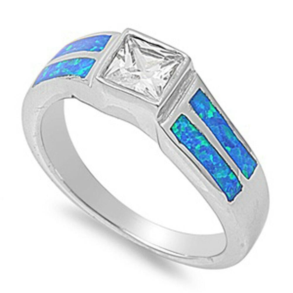 Rings $57.31 Square Clear Cubic Zirconia Stone with Blue Simulated Opal Set in Band blue clear cubic-zirconia cz opal