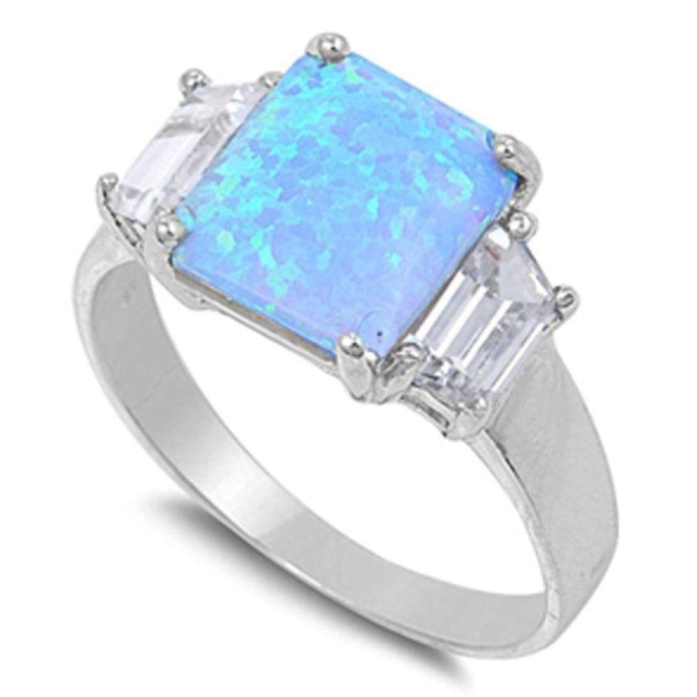 Rings $62.70 Square Cut Blue Lab Opal and Clear CZ Stone Accents Set in Band 50-100, badge-toprated, blue, clear, cubic-zirconia