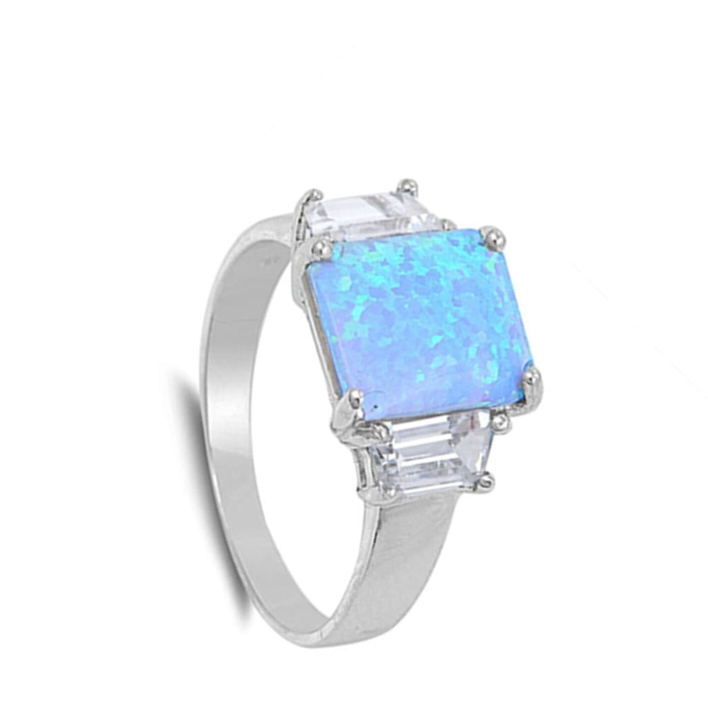 Rings $39.04 Square Cut Blue Lab Opal and Clear CZ Stone Accents Set in Band blue clear cubic-zirconia cz opal