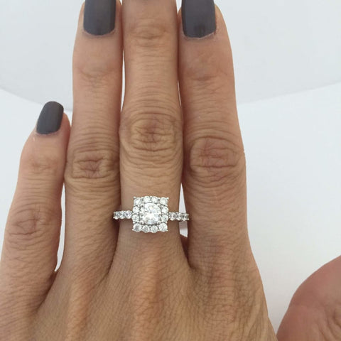 Image of Rings $48.00 Square Halo With 1/2 Carat Cubic Zirconia Engagement Ring Best Seller Er Halo Rhodium Wedding Engagement