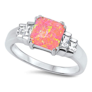 Square Pink CZ Stone with Clear CZ Stone Accent Set in a Sterling Silver Band