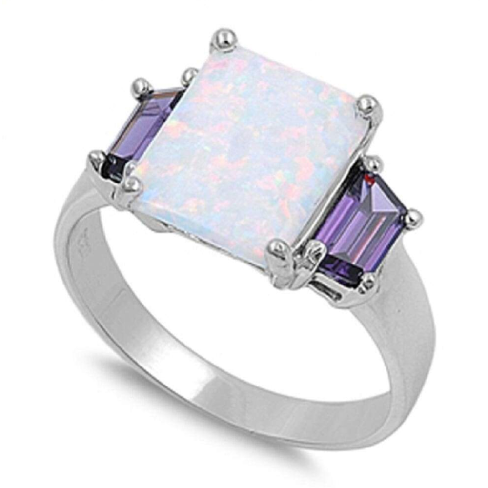 Rings $36.52 Square White Lab Opal with Amethyst Cubic Zirconia Set in Sterling Silver Band 25-50, amethyst, badge-toprated, cubic-zirconia,