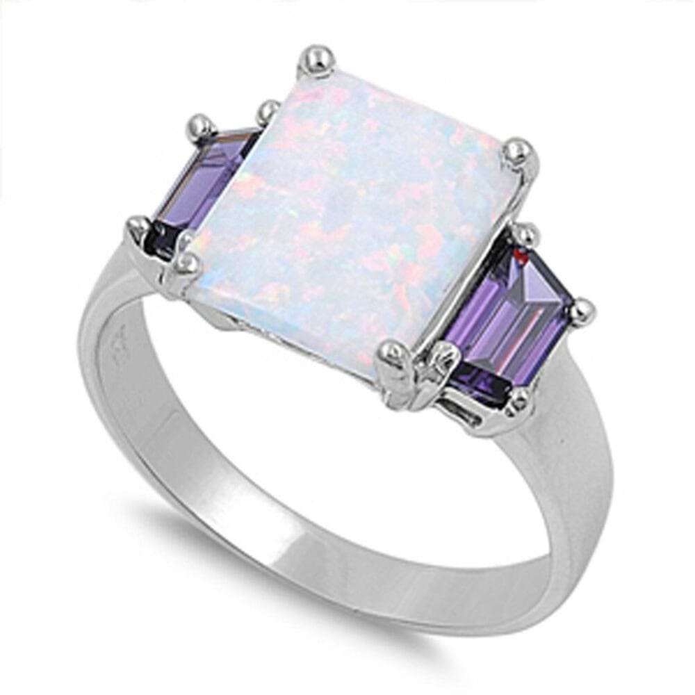 Rings $36.52 Square White Lab Opal with Amethyst Cubic Zirconia Set in Sterling Silver Band amethyst cubic-zirconia cz opal square