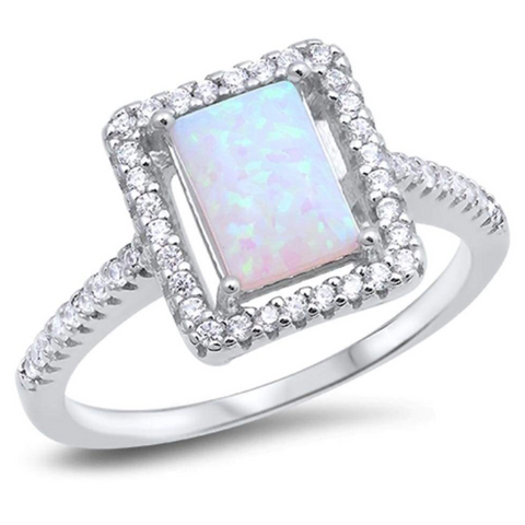 Rings $67.95 Square White Lab Opal with Clear Cubic Zirconia Stones Halo Ring 50-100, badge-toprated, clear, cubic-zirconia, cz