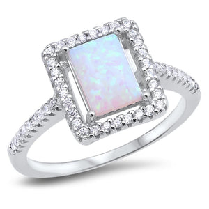 Square White Lab Opal with Clear Cubic Zirconia Stones Halo Ring