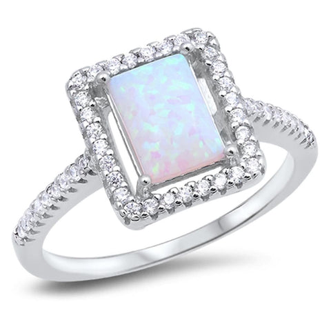 Image of Rings $52.27 Square White Lab Opal with Clear Cubic Zirconia Stones Halo Ring 50-100 clear cubic-zirconia cz halo