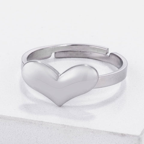 Rings $20.30 Stainless Steel Adjustable Simple and Plain Heart Ring JGI heart heart-shaped plain rings size-5