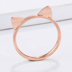 Stainless Steel Rose Goldtone Cat Ears Ring JGI