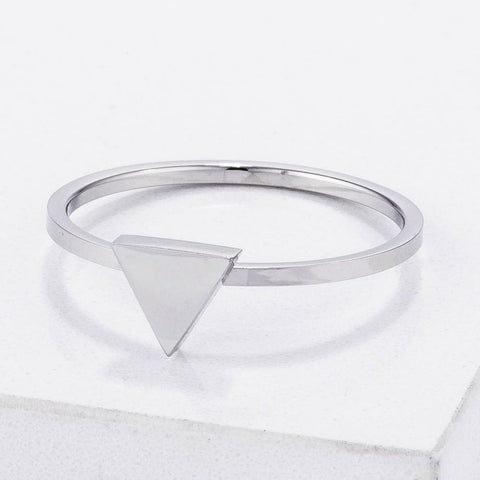 Image of Rings $20.30 Stainless Steel Triangle Stackable Ring Jgi Steel Trillion