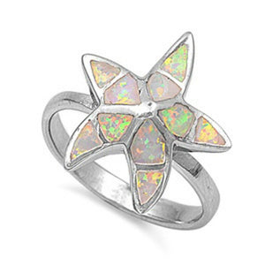 Starfish White Lab Opal Thumb Ring