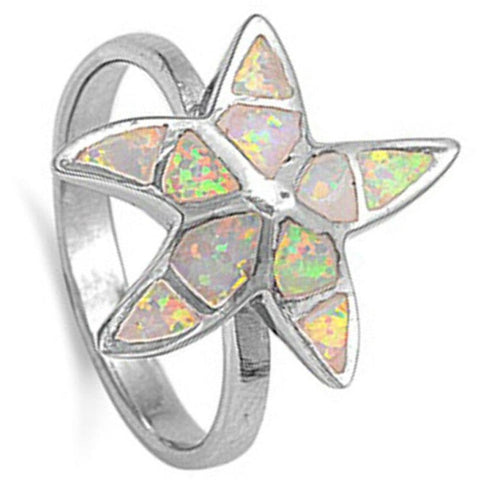 Rings $55.84 Starfish White Lab Opal Thumb Ring opal white