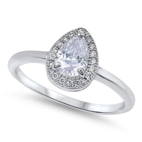 Image of Rings $45.99 Sterling Silver 3 Carat Pear Halo Cubic Zirconia Ring on Plain Band 25-50, 3-carat, badge-toprated, cubic-zirconia, cz