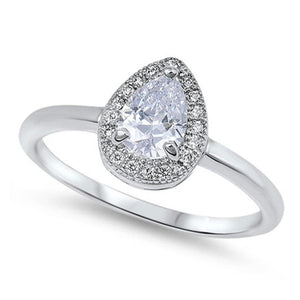 Sterling Silver 3 Carat Pear Halo Cubic Zirconia Ring on Plain Band