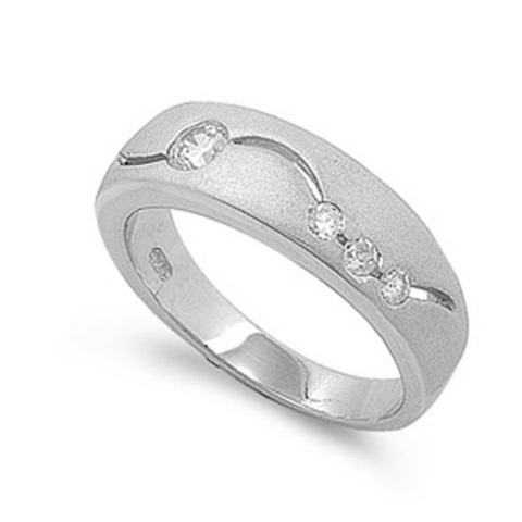 Rings $33.99 Sterling Silver Band with Inset Cubic Zirconia Modern Men's Ring 25-50, 7mm, badge-toprated, band, cubic-zirconia