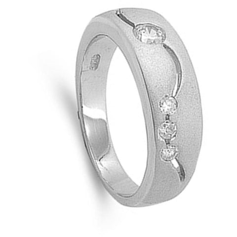 Image of Rings $33.99 Sterling Silver Band With Inset Cubic Zirconia Modern Mens Ring Band Cz Man