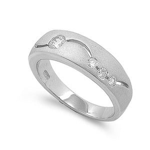 Sterling Silver Band with Inset Cubic Zirconia Modern Men's Ring