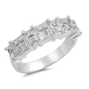 Sterling Silver Double Row of Princess Cut Cubic Zirconia Stones Ring