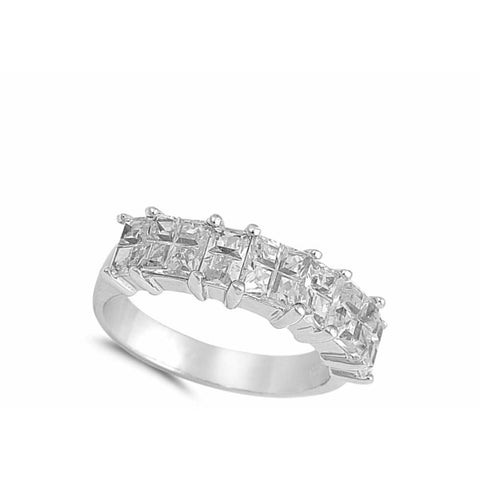 Image of Rings $33.99 Sterling Silver Double Row Of Princess Cut Cubic Zirconia Stones Ring Band Big Cz Formal Occasion