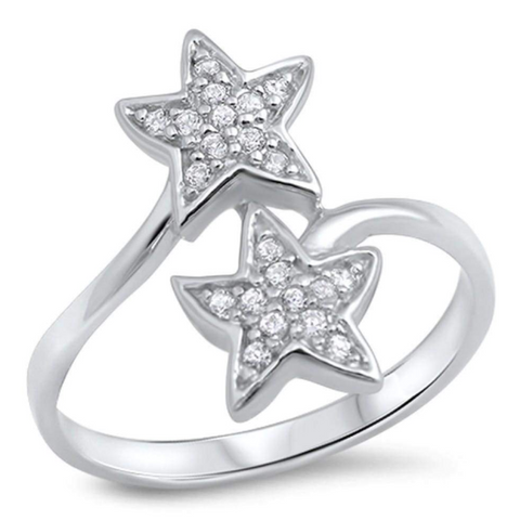 Image of Rings $25.99 Sterling Silver Dual Star Pave Cubic Zirconia Ring 25-50, badge-toprated, cubic-zirconia, cz, rings
