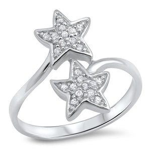 Sterling Silver Dual Star Pave Cubic Zirconia Ring