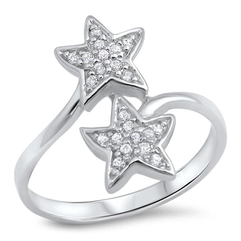 Image of Rings $25.99 Sterling Silver Dual Star Pave Cubic Zirconia Ring Cz Star