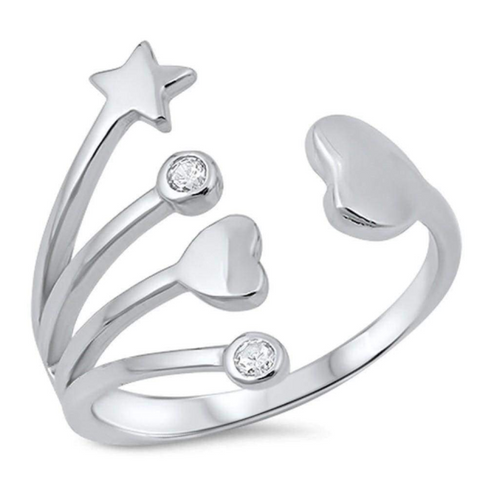 Rings $29.99 Sterling Silver Hearts and Star with Bezel Set Cubic Zirconia Ring 25-50,badge-toprated,bezel,cubic-zirconia,cz