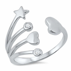 Sterling Silver Hearts and Star with Bezel Set Cubic Zirconia Ring