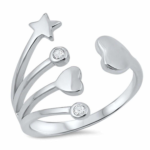 Rings $29.99 Sterling Silver Hearts And Star With Bezel Set Cubic Zirconia Ring Bezel Cz Heart Star