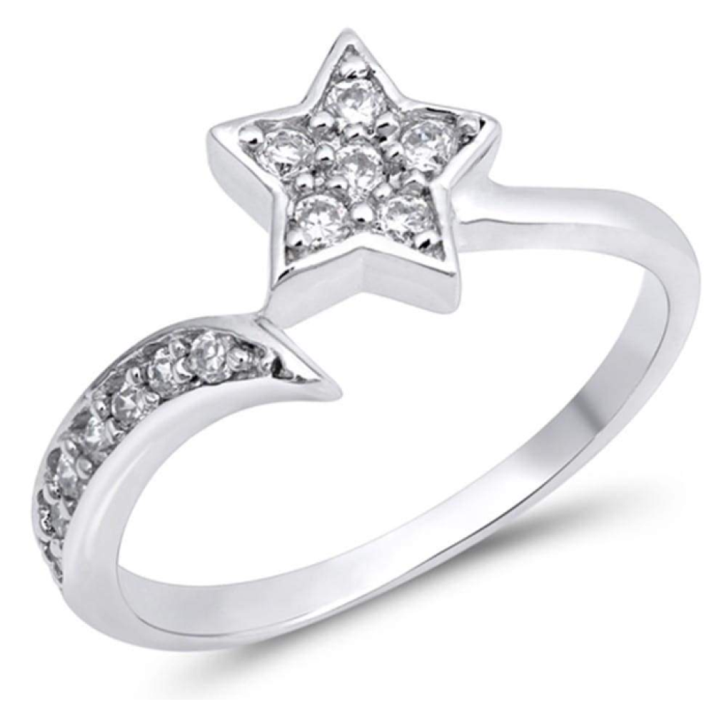 Rings $40.29 Sterling Silver Shooting Star Cubic Zirconia Ring 25-50, badge-toprated, cubic-zirconia, cz, rings