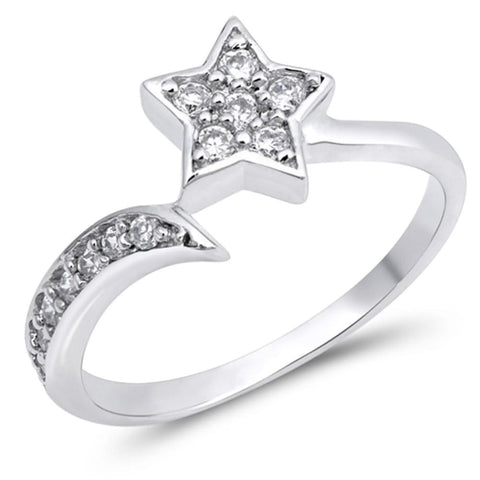 Rings $30.99 Sterling Silver Shooting Star Cubic Zirconia Ring Cz Star