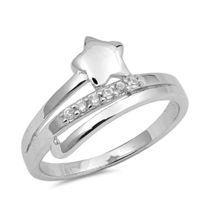 Rings $38.99 Sterling Silver Star and Cubic Zirconia Row Ring 25-50, badge-toprated, rings, size-4, size-5