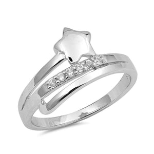 Sterling Silver Star and Cubic Zirconia Row Ring