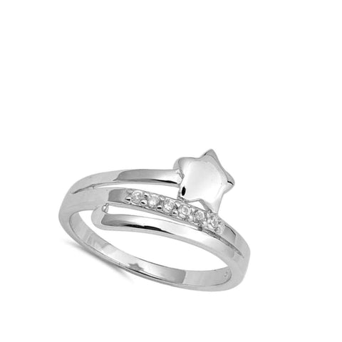 Rings $29.99 Sterling Silver Star And Cubic Zirconia Row Ring Star