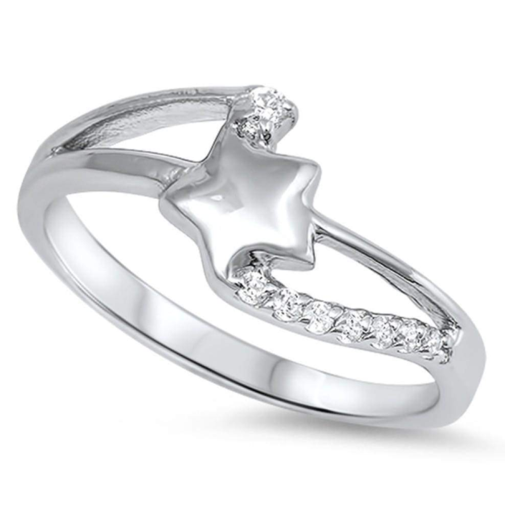 Rings $33.99 Sterling Silver Star Twist Cubic Zirconia Ring 25-50,badge-toprated,cubic-zirconia,cz,rings