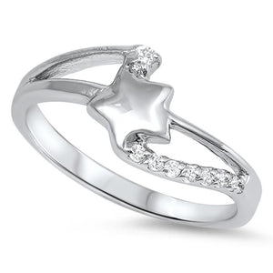Sterling Silver Star Twist Cubic Zirconia Ring
