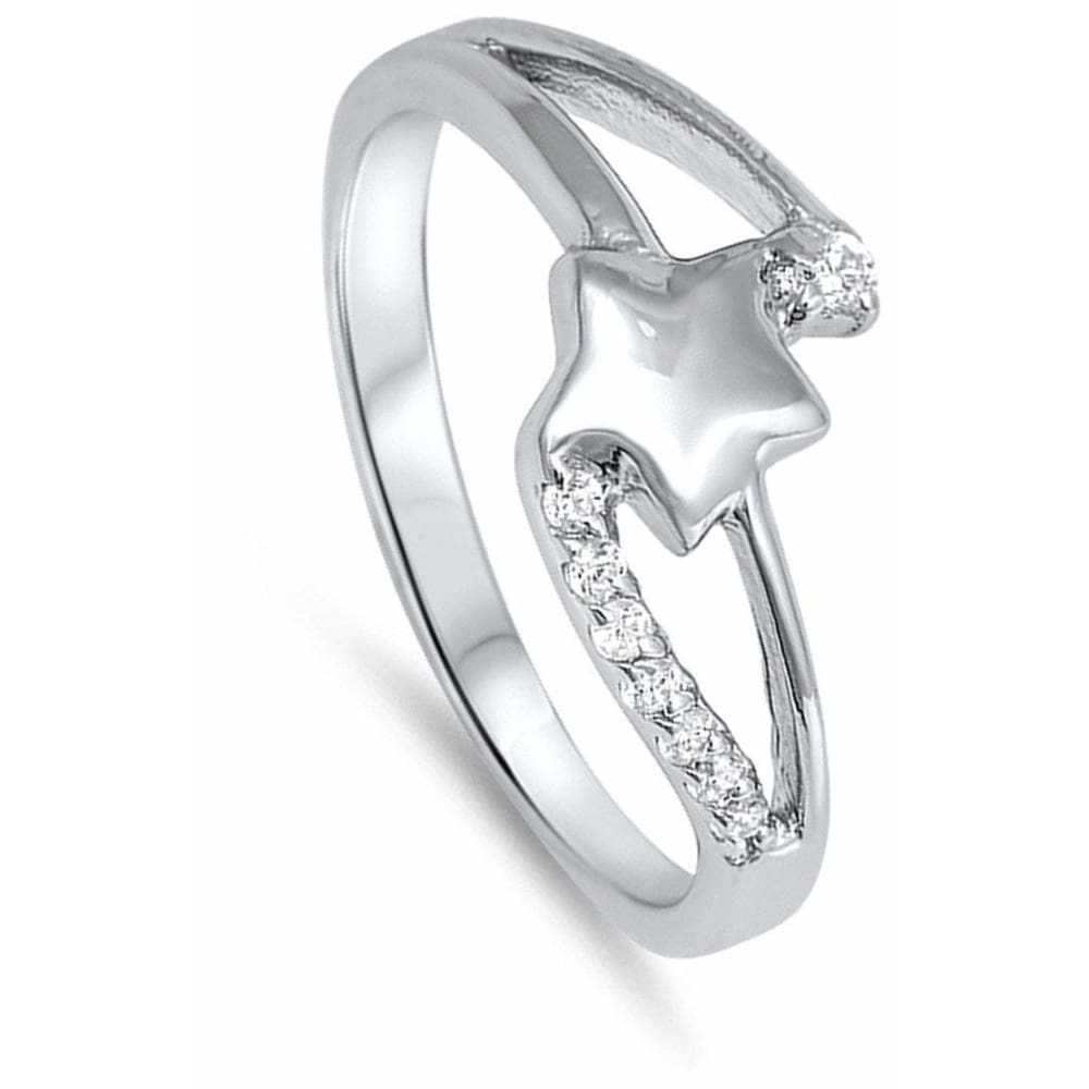 Rings $33.99 Sterling Silver Star Twist Cubic Zirconia Ring Cz Star