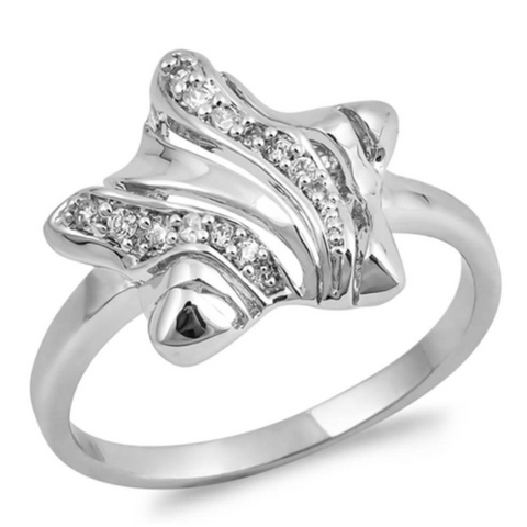 Image of Rings $31.99 Sterling Silver Twinkle Star with Cubic Zirconia Ring 25-50, badge-toprated, BIG, cubic-zirconia, cz