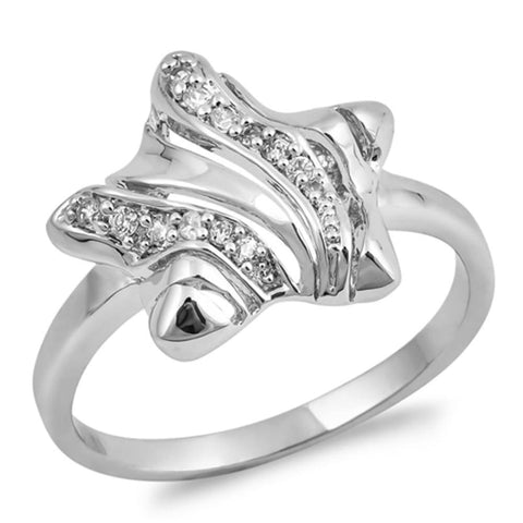 Image of Rings $31.99 Sterling Silver Twinkle Star With Cubic Zirconia Ring Big Cz Star