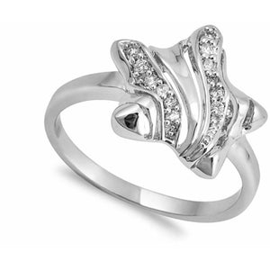 Sterling Silver Twinkle Star with Cubic Zirconia Ring